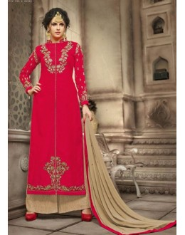 Festival Wear Red & Beige Jute Silk Palazzo Suit - 21001