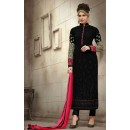 Ethnic Wear Black & Pink Georgette Salwar Suit - 21003