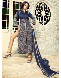 Party Wear Blue & Beige Tapeta Silk Slit Salwar Suit  - 32003