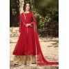 Party Wear Red & Beige Georgette Palazzo Suit  - 32001