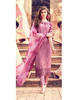 Ethnic Wear Rose Pink Premium Cotton Satin Salwar Suit - 303