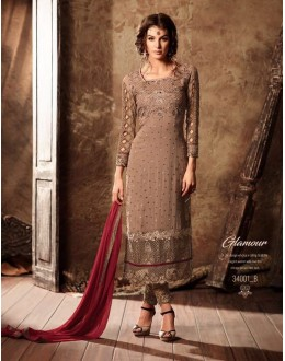 Party Wear Brown Georgette Salwar Suit - 34001-B