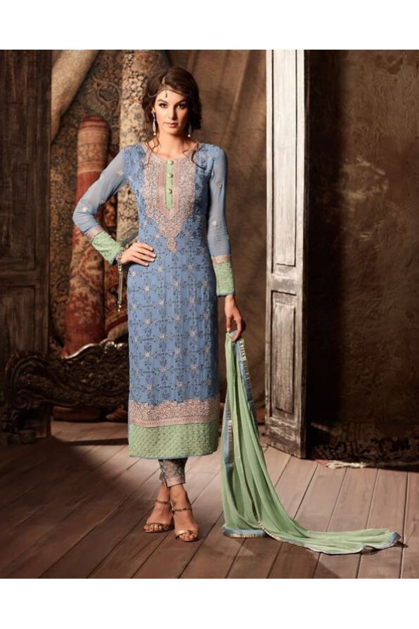Ethnic Wear Blue Georgette Salwar Suit - 34004-A
