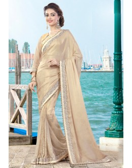 Party Wear Beige Lycra Net Saree  - 9424