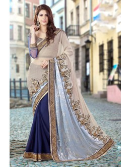 Ethnic Wear Blue & Beige Lycra Net Saree  - 9425