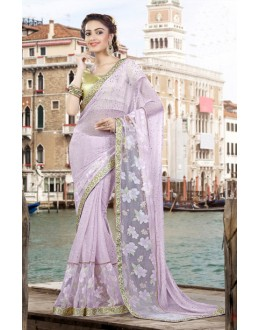 Party Wear Lavender & Gold Lycra Net Saree  - 9428