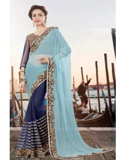 Ethnic Wear Sky Blue Lycra Net Saree  - 9430