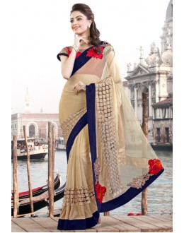 Festival Wear Beige & Red Lycra Net Saree  - 9431