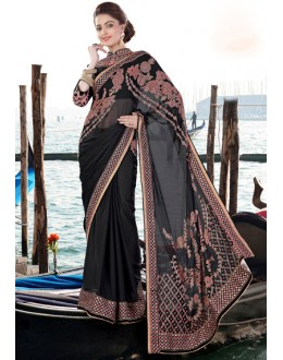 Party Wear Black Georgette Embroidery Saree  - 9434