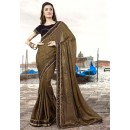 Party Wear Beige & Black Silk Georgette Saree  - 9439