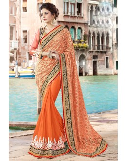 Ethnic Wear Orange & Gold Net Saree  - 9440