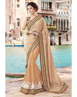 Festival Wear Beige & Gold Net Saree  - 9440-B