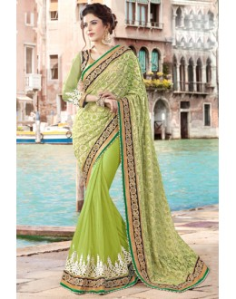 Festival Wear Green & Gold Net Saree  - 9440-C