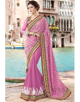 Festival Wear Pink & Gold Net Saree  - 9440-D