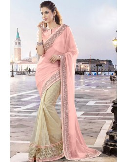 Party Wear Pink & Beige Net Saree  - 9441