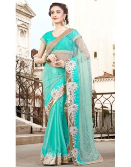 Party Wear Aqua Blue Net Saree  - 9444