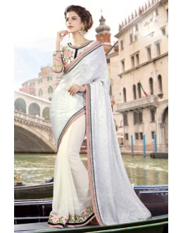Party Wear White Georgette Saree  - 9445