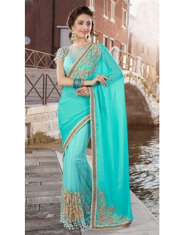 Festival Wear Arctic Blue Net Saree  - 9447