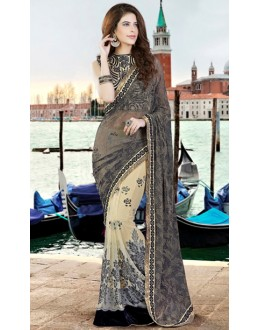 Ethnic Wear Black & Beige Net Saree  - 9448