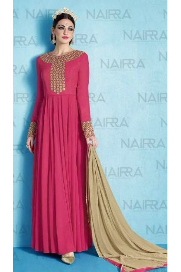 Party Wear Pink & Beige Salwar Suit - 1013-A
