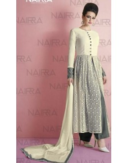 Party Wear Off White & Gray Salwar Suit - 1014-A