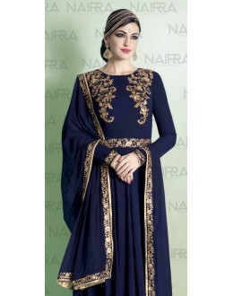 Party Wear Navy Blue Georgette Salwar Suit - 1015-A
