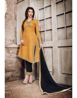 Party Wear Mustard Khadi Silk Salwar Suit  - 1031B