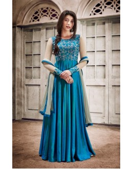 Party Wear Blue Handloom Silk Anarkali Suit - 1032A