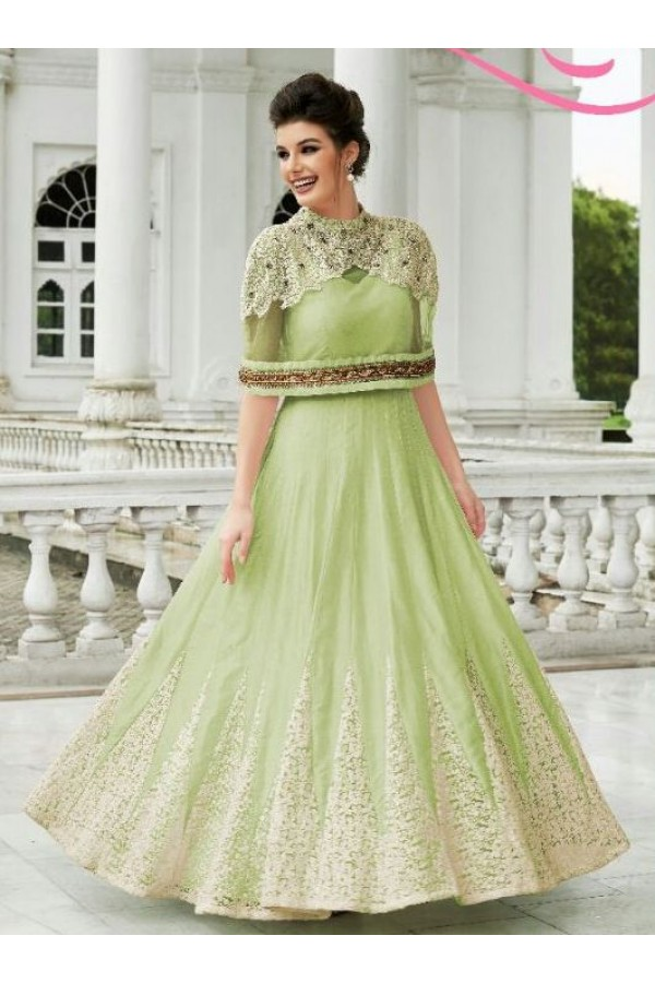 Designer Green Raw Silk Embroidered Gown - 151