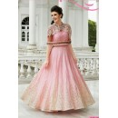 Party Wear Light Pink Raw Silk Embroidered Gown - 153
