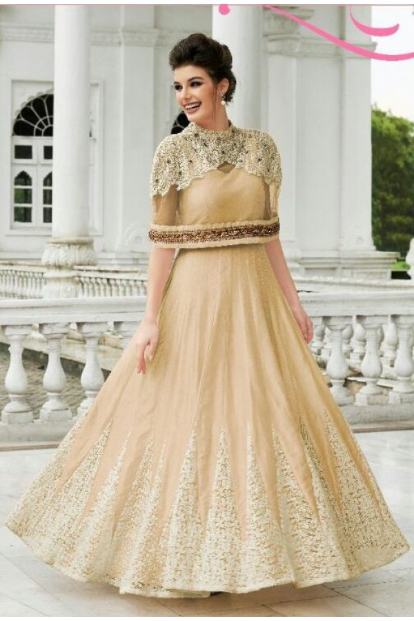 Ethnic Wear Brown Raw Silk Embroidered Gown - 154