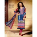 Designer Party Wear Blue Embroidered Cotton Unstitched Churidar Suit - 2101 A ( OFB-600 )