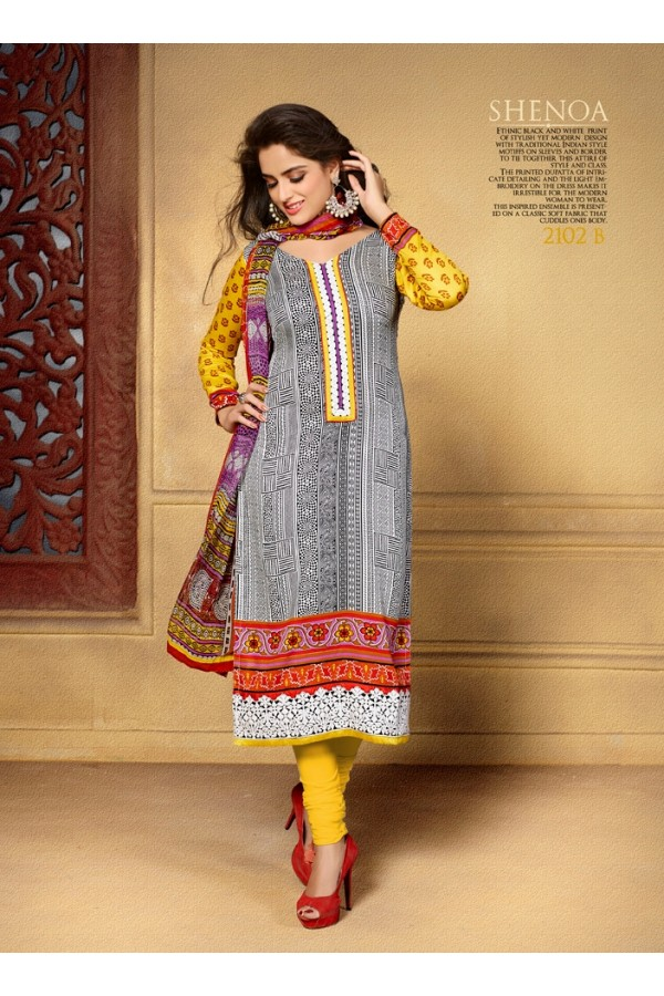 Designer Party Wear Grey Embroidered Cotton Unstitched Churidar Suit - 2102 B ( OFB-600 )