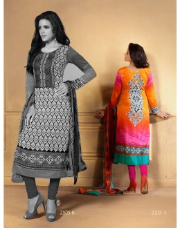 Designer Party Wear Multicolor Embroidered Cotton Unstitched Churidar Suit - 2105 A ( OFB-600 )