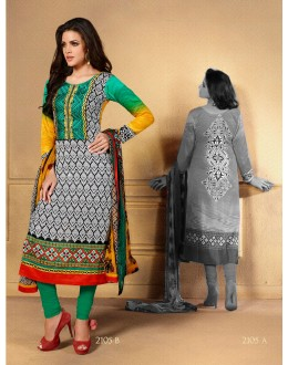 Designer Party Wear Multicolor Embroidered Cotton Unstitched Churidar Suit - 2105 B ( OFB-600 )