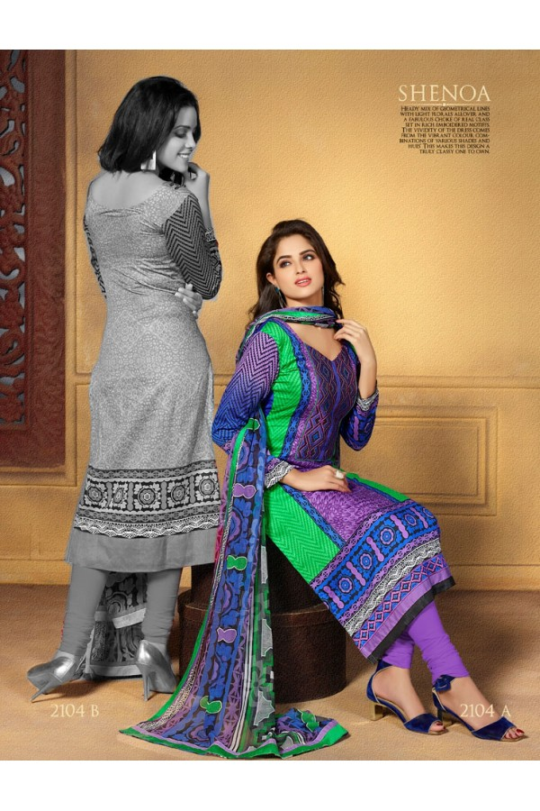 Designer Party Wear Purple & Green Embroidered Cotton Unstitched Churidar Suit - 2104 B ( OFB-600 )