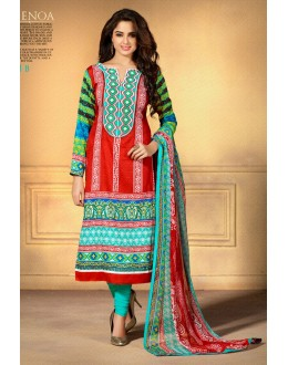 Designer Party Wear Red Embroidered Cotton Unstitched Churidar Suit - 2101 B ( OFB-600 )