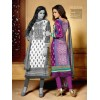 Designer Party Wear White & Purple Embroidered Cotton Unstitched Churidar Suit - 2103 A ( OFB-600 )