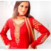 Designer Red Embroidered Faux Georgette Jacquard Churidar Salwar Kameez - 9502 ( OFB-604 )