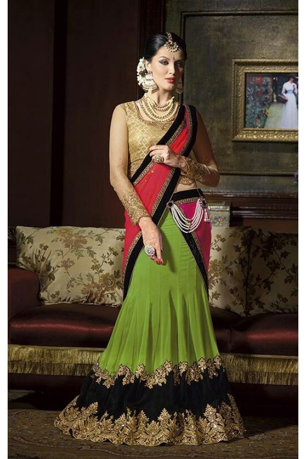 Designer Green Embroidered Georgette Party Wear Lehenga Choli - 9219 ( OFB-620 )