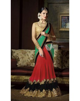 Designer Red Embroidered Georgette Party Wear Lehenga Choli - 9217 ( OFB-620 )