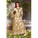 Designer Fancy Embroidered Polyster Georgette Cream Palazzo Suit - 6702 ( OFB-637 )