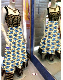 Bollywood Replica - Designer Floral Printed Cream & Blue Party Wear Anarkali Suit - 41001 ( OFB-638 )