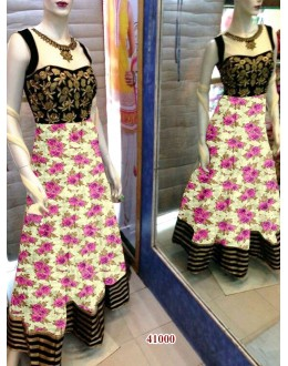Bollywood Replica - Designer Floral Printed Cream & Purple Party Wear Anarkali Suit - 41000 ( OFB-638 )