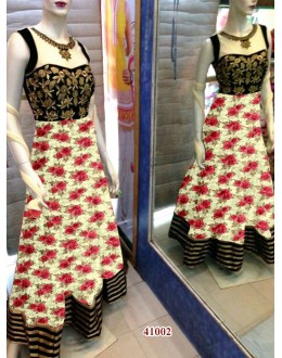 Bollywood Replica - Designer Floral Printed Cream & Red Party Wear Anarkali Suit - 41002 ( OFB-638 )