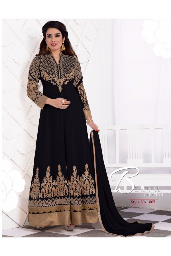 Designer Georgette Embroidered Party Wear Black Anarkali Suit - WA0061 ( OFB-644 )
