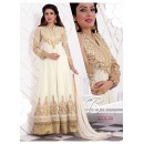 Designer Georgette Embroidered Party Wear Off White Anarkali Suit - WA0062 ( OFB-644 )