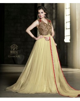 Designer Net Embroidered Party Wear Cream Gown - 25002 ( OFB-645 )