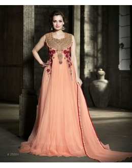 Designer Net Embroidered Party Wear Peach Gown - 25004 ( OFB-645 )