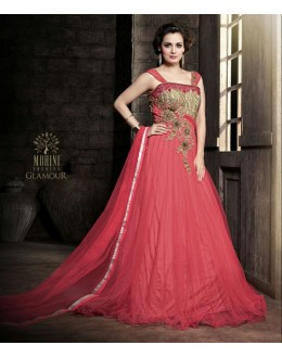 Designer Net Embroidered Party Wear Pink Gown - 25003 ( OFB-645 )